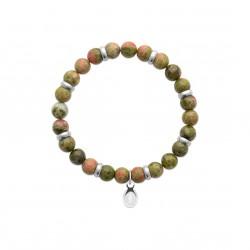 Bracelet élastique en acier inoxydable boule en véritable unakite obrillant-bijoux
