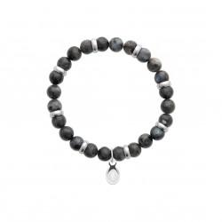 Bracelet élastique en acier inoxydable boule en véritable labradorite obrillant-bijoux