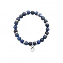 Bracelet élastique en acier inoxydable boule en véritable jaspe bleu obrillant-bijoux