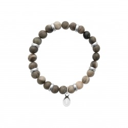 Bracelet élastique en acier inoxydable boule en véritable jaspe kaki obrillant-bijoux