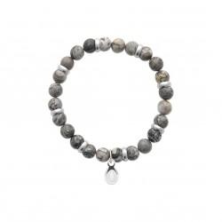 Bracelet élastique en acier inoxydable boule en véritable jaspe gris obrillant-bijoux
