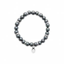 Bracelet élastique en acier inoxydable boule en véritable hématite bleue obrillant-bijoux