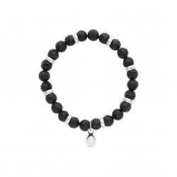Bracelet élastique en acier inoxydable boule en véritable pierre de lave obrillant-bijoux