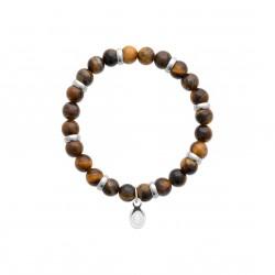 Bracelet élastique en acier inoxydable boule en véritable oeil de tigre obrillant-bijoux