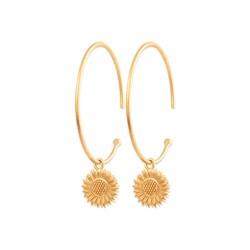 Créoles en plaqué or pampilles tournesols obrillant-bijoux