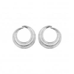 Boucles d'oreilles pendantes en argent anneaux ciselés obrillant-bijoux
