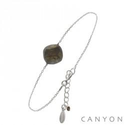 Bracelet canyon en argent avec une labradorite taille coussin obrillant-bijoux