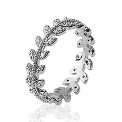 Bague en argent rhodié anneau feuilles de laurier en zirconium blanc Obrillant-bijoux