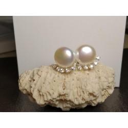Boucles d'oreilles CANYON puces en argent maillon perle et zirconium obrillant-bijoux
