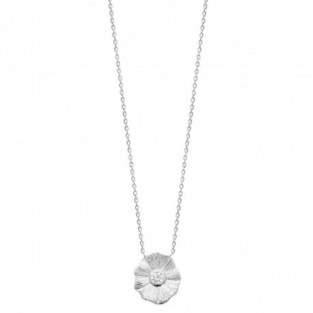 Collier en argent rhodié motif fleur en zirconium obrillant-bijoux