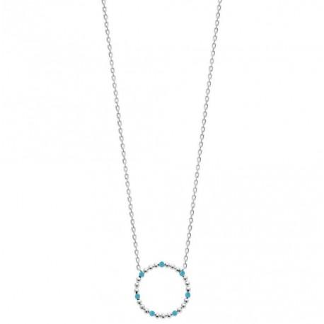 Collier en argent 925 rhodié cercle avec petites boules en émail bleu turquoise obrillant-bijoux