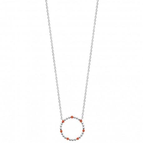 Collier en argent 925 rhodié cercle avec petites boules en émail corail obrillant-bijoux