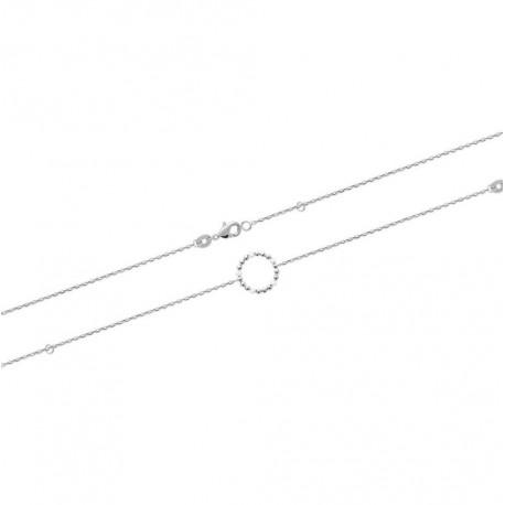 Bracelet en argent 925 rhodié cercle avec petites boules en émail blanc obrillant-bijoux