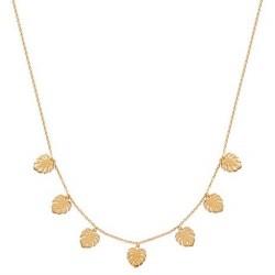Collier en plaqué or 7 feuilles tropicales obrillant-bijoux