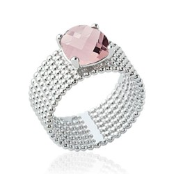 Bague large en argent rhodié sept rangs perlés pierre carré en cristal rose à facettes Obrillant-Bijoux