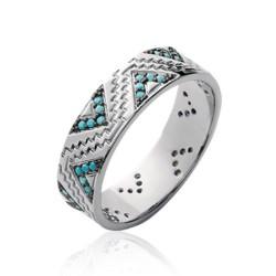 Bague argent rhodié anneau motifs V pavé en turquoises de synthèse Obrillant-Bijoux