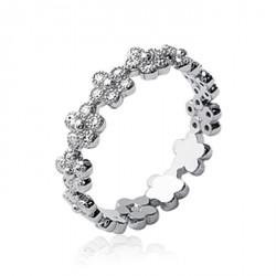 Bague en argent massif 925 rhodié anneau fleurs en pierres serties zirconium Obrillant-Bijoux