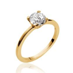Solitaire plaqué or pierre 6 mm en zirconium blanc Obrillant-bijoux