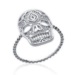 Bague en argent rhodié tête de mort style aztèque Obrillant-bijoux