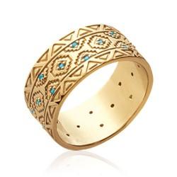 Bague plaqué or anneau aux formes géométriques et turquoises de synthèse Obrillant-Bijoux