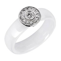 Bague en céramique blanche et cercle pavé de cristaux Obrillant-Bijoux