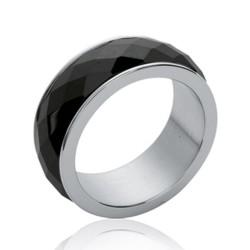 Bague en acier et céramique noire à facettes Obrillant-Bijoux