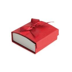 Ecrin cartonné rouge pour boucles d'oreilles petit noeud satin obrillant bijoux