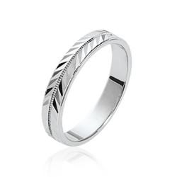 Alliance en argent massif 925 rhodié ciselée mariage fiançailles style mixte Obrillant-Bijoux