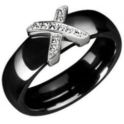 Bague en céramique noire et X pavé de cristaux Obrillant-Bijoux