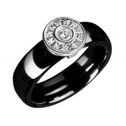 Bague en céramique noire et cercle pavé de cristaux Obrillant-Bijoux