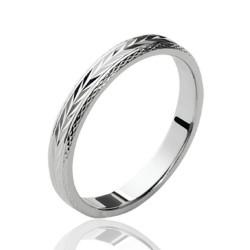 Alliance mariage en argent massif 925/1000 rhodié anneau ciselé mixte Obrillant-Bijoux
