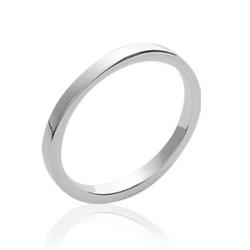 Alliance fine en argent massif 925/1000 anneau fil carré mixte Obrillant-Bijoux