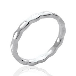 Alliance en argent massif 925 anneau fil ciselé style classique et mixte Obrillant-Bijoux
