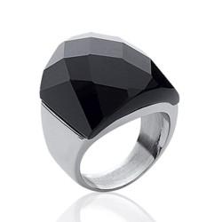 Bague en acier imposante en céramique noire à facettes promotion Obrillant-Bijoux