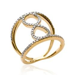 Bague large en plaqué or noeud infini pavé en zirconium promotion Obrillant-bijoux