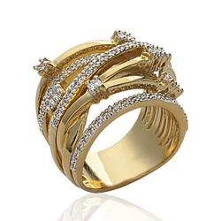 Bague en plaqué or anneaux entrelacés pavé en zirconium promotion Obrillant-bijoux
