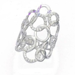 Bague large en argent massif anneaux entrelacés pavé en zirconium promo Obrillant-Bijoux