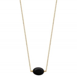 Collier en plaqué or pierre en agate noire véritable Obrillant-Bijoux