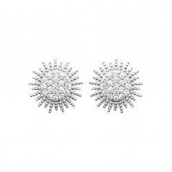 Puces d'oreilles en argent rhodié soleil rayonnant pavé en zirconium Obrillant-Bijoux