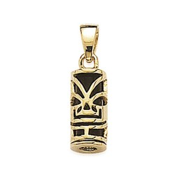 Pendentif plaqué or Tiki de Polynésie résine noire pas cher obrillant-bijoux