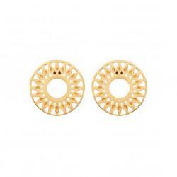 Puces d'oreilles en plaqué or soleil ajouré obrillant-bijoux