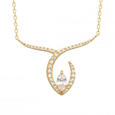 Collier en plaqué or style baroque en zirconium obrillant-bijoux