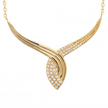 Collier en plaqué or style joaillerie en zirconium obrillant-bijoux