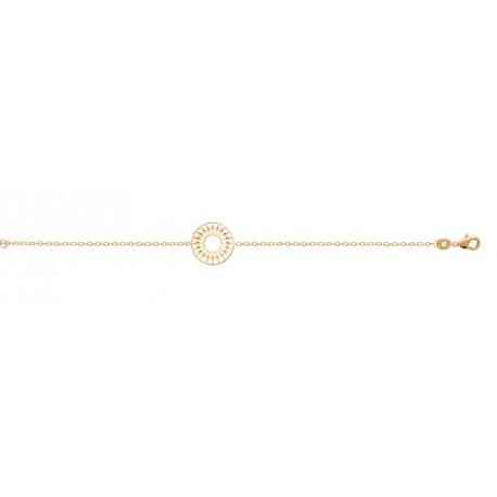 Bracelet en plaqué or anneau cercle soleil ajouré dentelle obrillant-bijoux