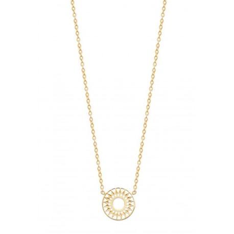 Collier en plaqué or anneau cercle soleil ajouré dentelle obrillant-bijoux