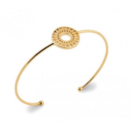 Jonc en plaqué or anneau cercle soleil ajouré dentelle obrillant-bijoux