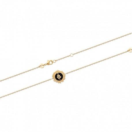 Bracelet en plaqué or serpent en émail noir obrillant-bijoux
