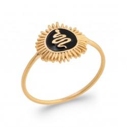 Bague en plaqué or soleil avec serpent en émail noir Obrillant-bijoux