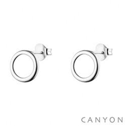 Puces d'oreilles CANYON en argent ornées d'une cercle obrillant-bijoux