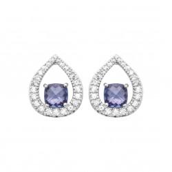 Boucles d'oreilles en argent rhodié gouttes en cristal bleu et zirconium